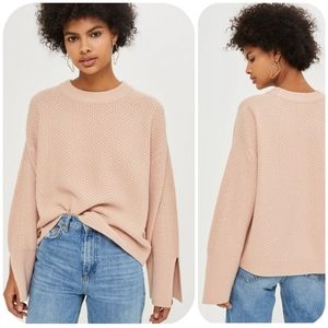 Topshop Knit Oversized Wide Sleeve Split Cuff Top